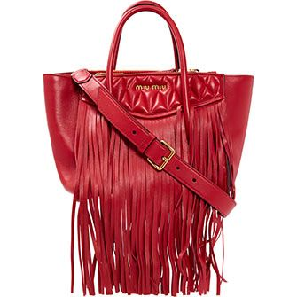 Miu Miu Red Fringed Tote Bag