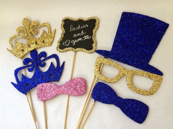 Glitter photo booth props  ladies and gentlemen by Lenoreloves