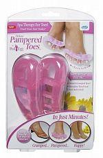 Pampered Toes 2-delig Set  Verwen je voeten vandaag nog met Pampered Toes. Deze zijn gemaakt van een flexibele gel en beschikken over een vibrerende functie zodat je tenen worden gemasseerd. Doordat de tenen ook gerekt worden zul je geen pijn meer hebben in je voeten. Pampered Toes is te gebruiken voor elke voetmaat.De voordelen van de Pamperd Toes- Je kunt ze telkens weer opnieuw gebruiken- Ze zijn geschikt voor elke voetmaat- Je kunt ze gebruiken wanneer je maar wiltJe kunt Pampered Toes…