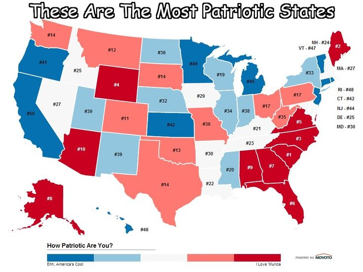 Here S An Awesome Map Of The 10 Most Patriotic States In America