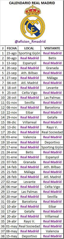 Futbol de Locura: Calendario completo del Real Madrid para la Temporada 2015-2016