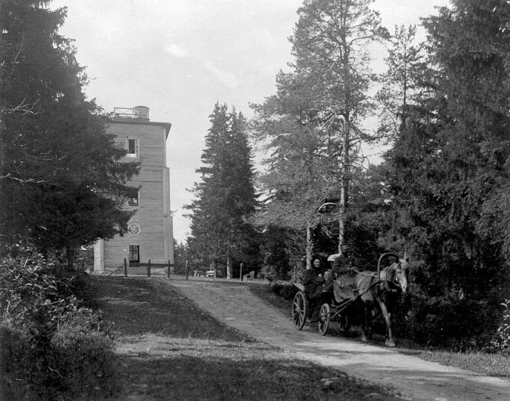 Puijon puutorni ja vossikka. Kuva otettu Kuopion Puijolta. Kuvassa on ensimmäinen Puijon torni. Kuva on otettu vuosien 1895 ja 1905 välisenä aikana. Kuvaajaa ei tiedetä.