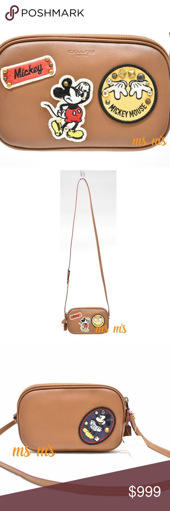 """NWT Coach Disney Mickey Mouse Guaranteed 100% authentic NWT Disney X Coach Crossbody Pouch In Glove Calf Leather With Mickey Mouse Patches Color:  Saddle Multi Glove calf leather Two credit card slots Inside multifunction pocket Double zip closure, fabric lining Adjustable strap with 23"""" drop for shoulder or crossbody wear 7 1/2"""" (L) x 4 1/2"""" (H) x 1 1/2"""" (W) Coach Bags Crossbody Bags"""