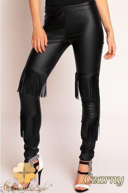 Skórzane spodnie damskie z frędzlami marki Nommo.  #cudmoda #moda #ubrania #odzież #clothes