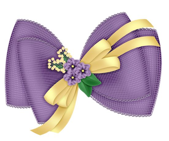 Beautiful Transparent Purple Bow with Flowers Clipart