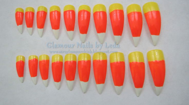 20 Full well Long Stiletto Nail tips Candy Corn nail art White, Orange, Yellow
