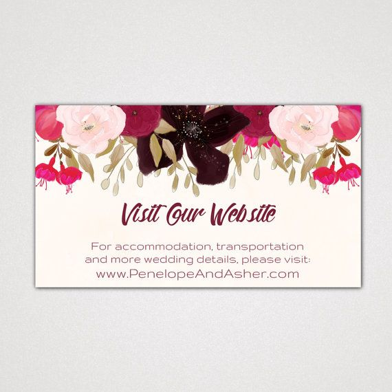 Wedding Website Card Printable Template with a Floral Boho Design: A Bohemian Wedding Website Insert Card, Digital Instant Download Editable PDF - This design features dark purple, red and pink flowers and a pretty script calligraphy font. Ask your wedding guests to go online to get all the wedding day details. This enclosure card is perfect for the following wedding themes; boho, watercolor flowers, bouquet of posies, feminine garden, romantic, fall, and winter.