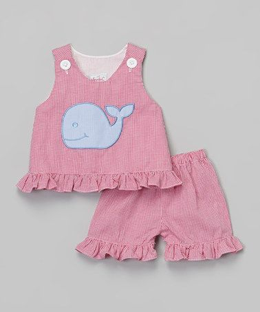 Another great find on #zulily! Pink Gingham Whale Jumper & Shorts - Infant, Toddler & Girls by Smocked or Not #zulilyfinds