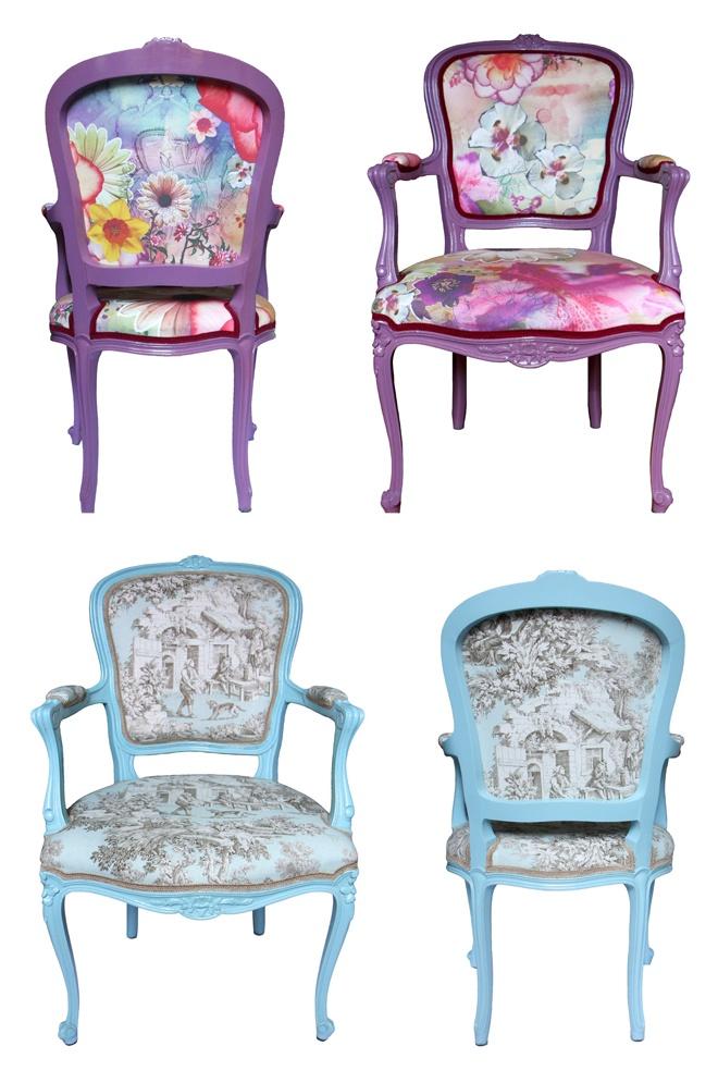 Cadeiras Luis XV com estampa da Farm e com o toile de jouy mais lindo do mundo!