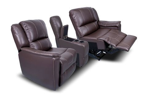 The Thomas Payne Collection's modular theater seating can be ordered in a variety of colors and configurations, with or without the center storage console and cup holder.