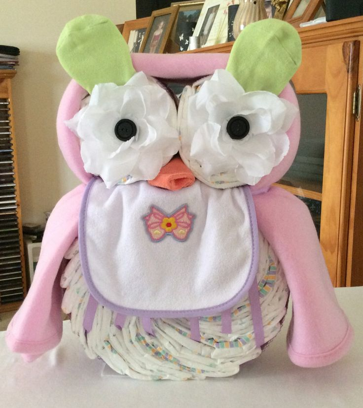 """""""She's a Hootie""""    OWL Nappy Cake by Shalea Gifts  Contains - 36 Newborn Nappies  2 x Baby Feeding Bibs  1 x Fleece Baby Wrap  1 x Baby Wash Cloth  1 pair Baby Socks   Custom Made to Order - Baby Boy, Girl  or Unisex Colours  Finished with Cellophane and Ribbon   $45.00"""