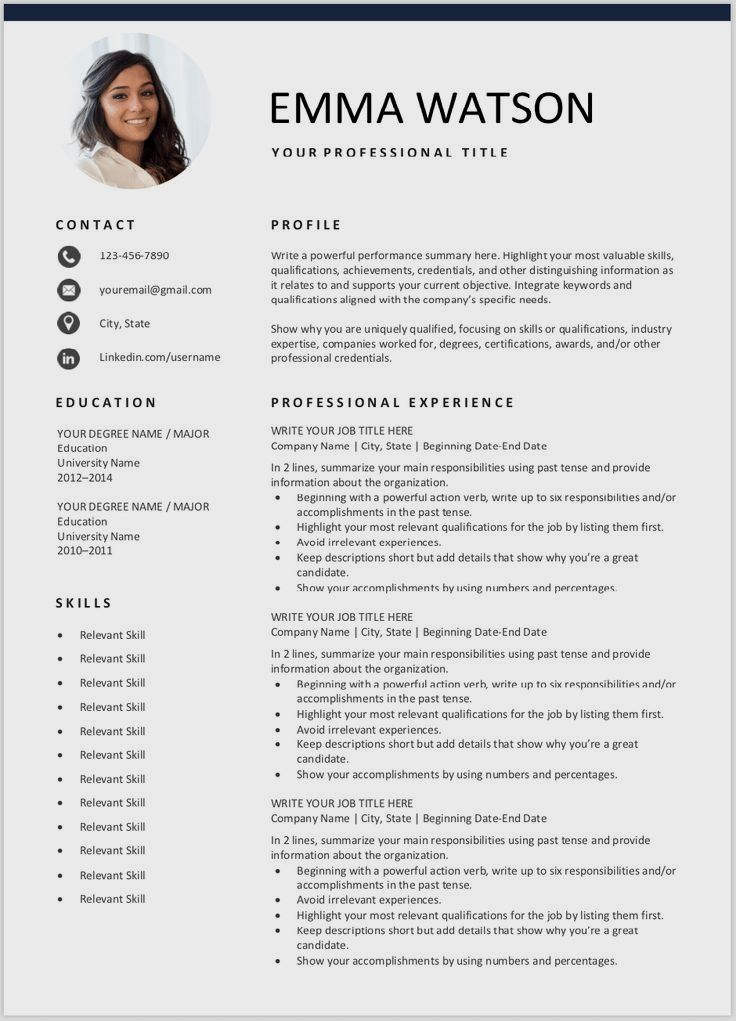 Resume Template With Headshot Photo Cover Letter 1 Page Word Resume Design Diy C In 2020 Downloadable Resume Template Resume Examples Free Resume Template Download