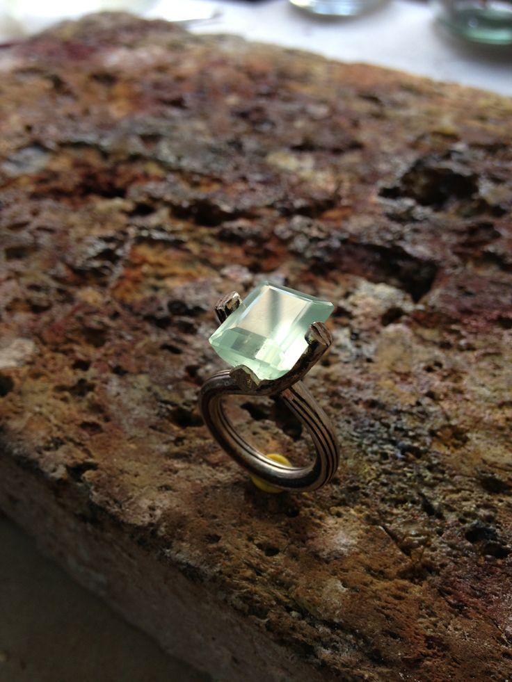 Mokume gane ring and aquamarine Joyas Thea #joyasthea