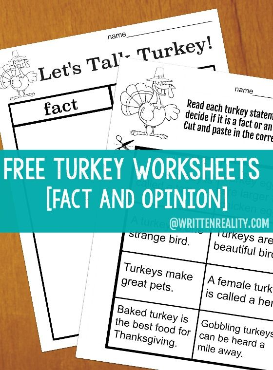 Free Turkey Worksheets fact and opinion #Thanksgiving {writtenreality.com}