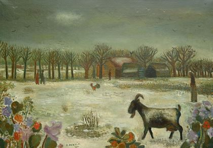 Cornelis 'Kees' Andréa (1914-2006) Winterlandscape with figures and animals, oil on canvas. Collection Simonis & Buunk, The Netherlands