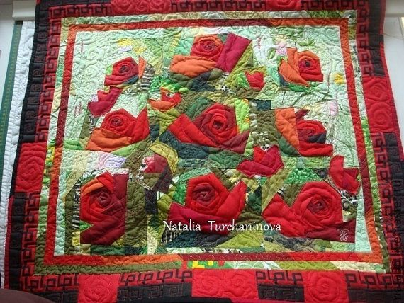 Interior Quilted Picture   My Red Roses Wall Hanging  Luxury Interior Unique Design Flowers Handmade Family Favorite Style