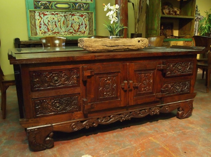 Carved Indonesian Buffet With Drawers