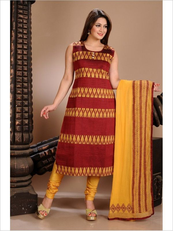 Red/Yellow Formal Art Silk Suit