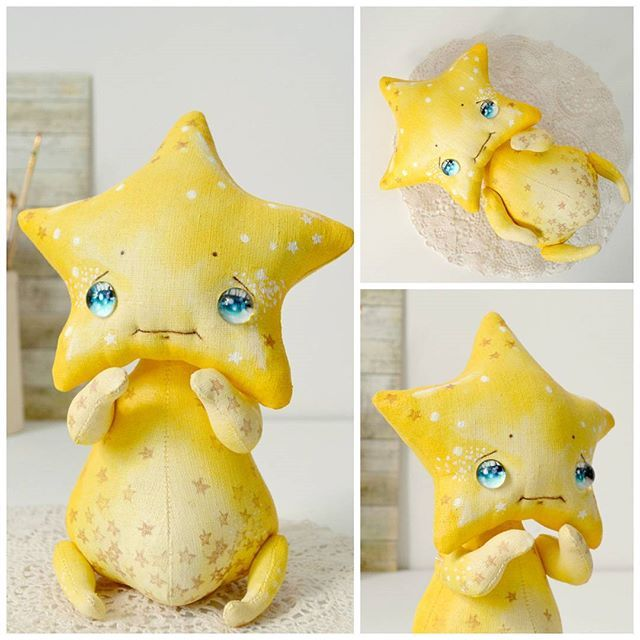 Shiny star  It is the brightest star in the sky, but at the same time no one notices her . Her can see only romance, travelers, dreamers. Sometimes she is shown to those who are sad.  Sold #whimsical #artdoll #textiledoll  Это самая Яркая Звезда на небе, но не все замечают ее.  Обычно её видят только романтики, путешественники и мечтатели. Иногда она показывается для тех, кому сейчас грустно.  При доме!