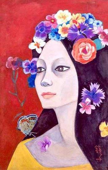 (Korea) Woman with Flowers & Butterfly 1974 by Chun Kyung-ja(1924-2015), Korea. 천경자. 고독.