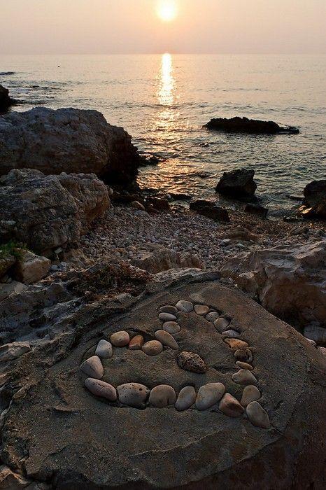 sunsetbeachstone heart
