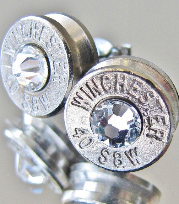 40 S&W WINCHESTER Earrings CHOICE Swarovski Crystal New Bullet Silver Nickel Jewelry Stud Western Hunting Motorcycle Harley Davidson