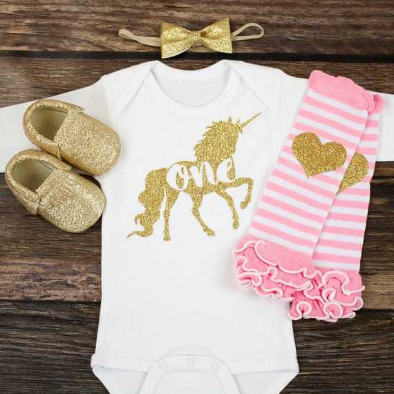 "Unicorn First Birthday Outfit | Gold Unicorn ""One"" with Pink straight and a Gold Sparkly heart Leg Warmers 