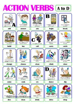 PICTIONARY - ACTION VERB SET (1) - from A to D