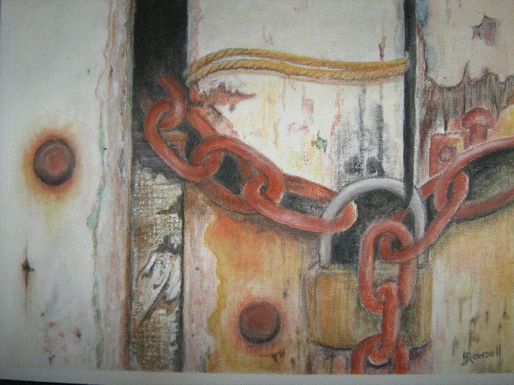 Heather Rowsell - 'Chains' mixed media on textured paper
