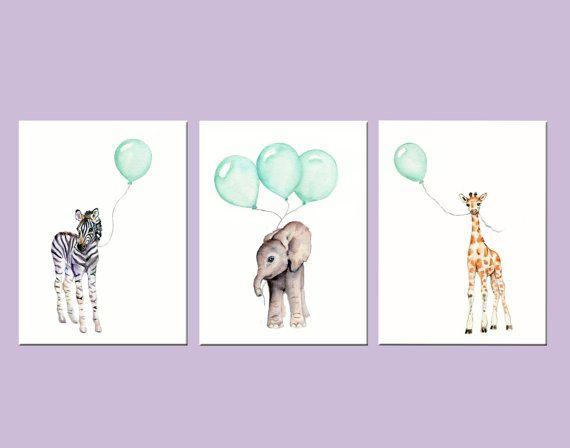 Mint nursery prints animal print set set of by Marysflowergarden