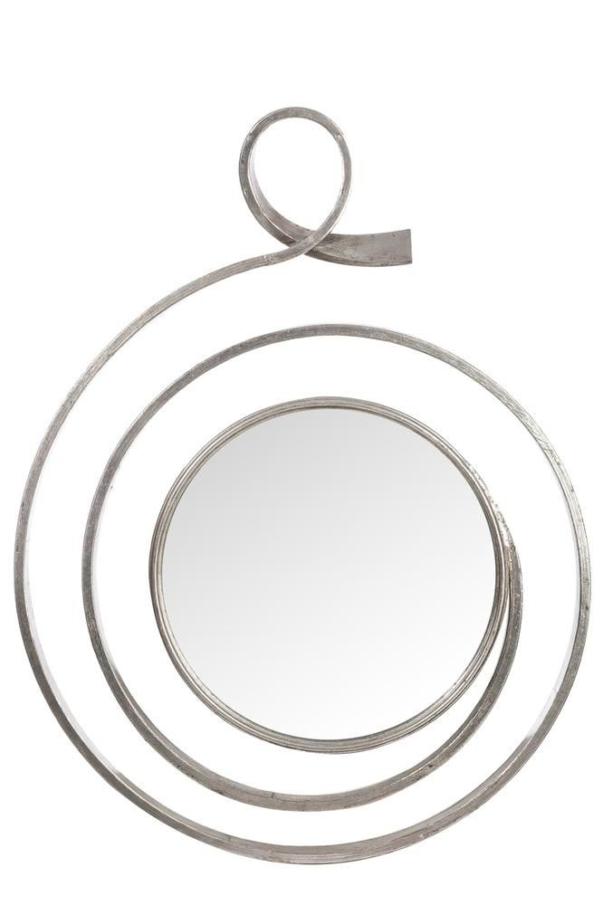 Espejo redondo espiral metal antiguo plata 72x10x100cm