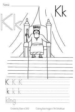 K Is For King Coloring Page is for King - This is the coloring & writing practice page for the ...
