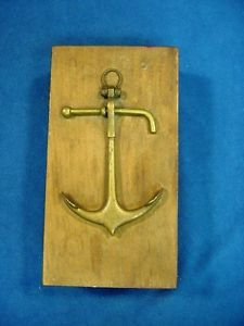 * Antique Wooden Box w. Brass Anchor Ornament Maritime Marine Trinket Pencil Box  | eBay