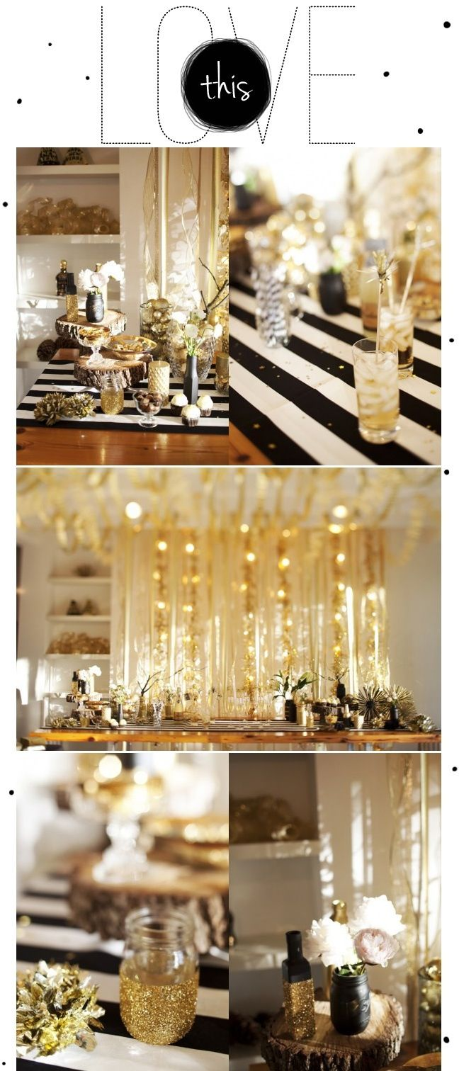 Black white or ivory with pops of gold party deco for Gold party