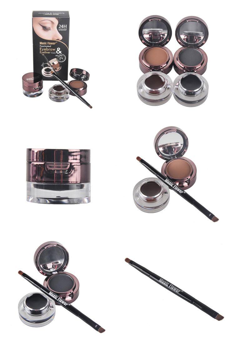 [Visit to Buy] Music Flower Brand 4 In 1 Eyebrow Powder Brow Pomade + Liquid Eyeliner Gel Cream with Makeup Brush Eye Brow Sourcils Maquillage #Advertisement