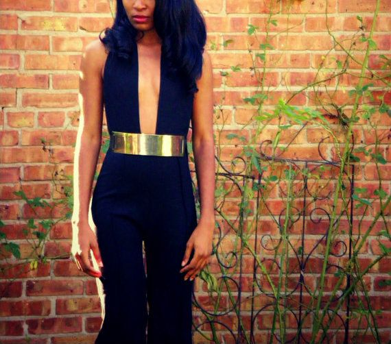 Backless Metal Belted Wide Leg Jumpsuit by alafemme on Etsy, $250.00
