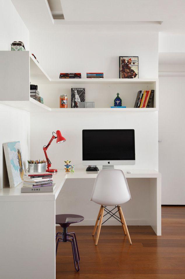 Coin bureau blanc simple, étagère en L | Working gent :un diy pour notre minette