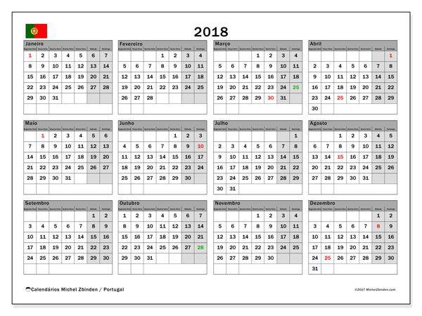 Calendário em  de 2018, com feriados públicos em Portugal. Calendário mensal para imprimir gratuitamente.