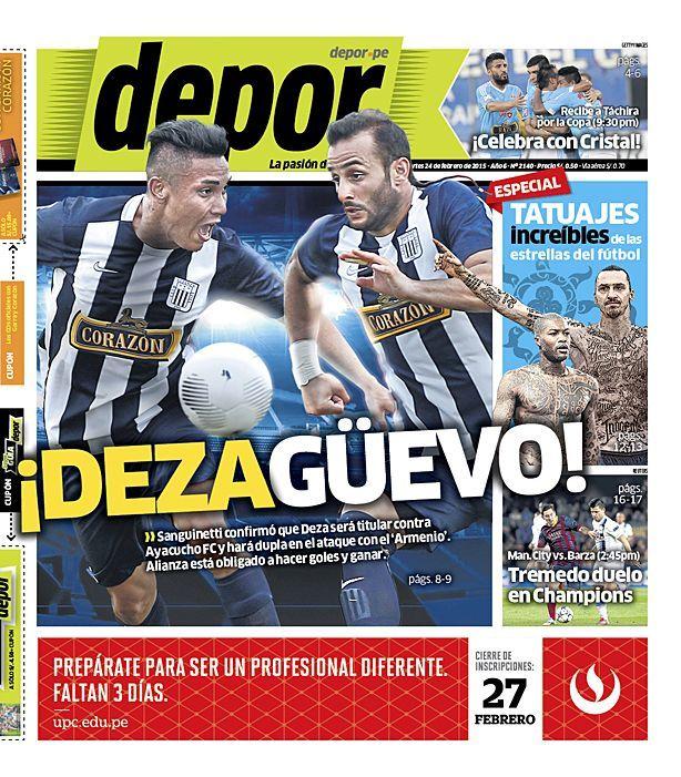 La Portada Impresa Depor del Dia 2015-02-24 del mejor diario deportivo del Peru y el Mundo en Depor.pe