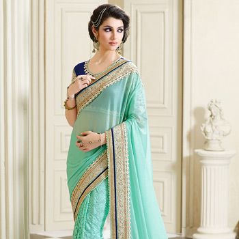 Aqua Lycra Shimmer and Chantelle Net Saree with Blouse