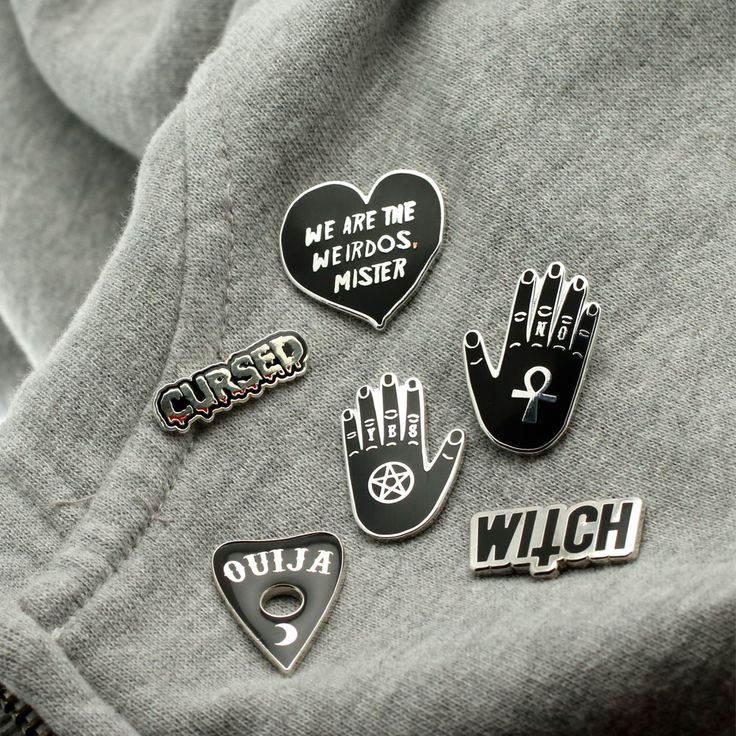 Spooky Lapel Pins: Black enamel pin collection, witch, cursed, ouija planchette, we are the weirdos & Yes/No hands