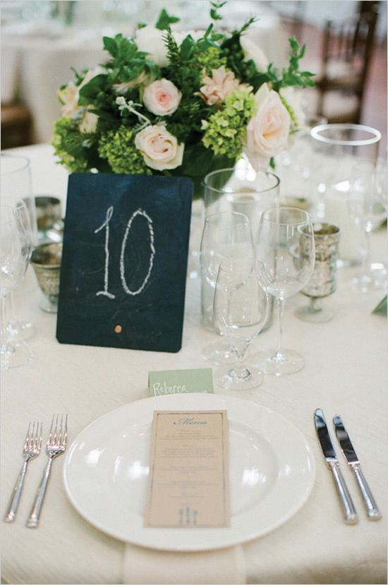 chalkboard table numbers. so simple and charming too.