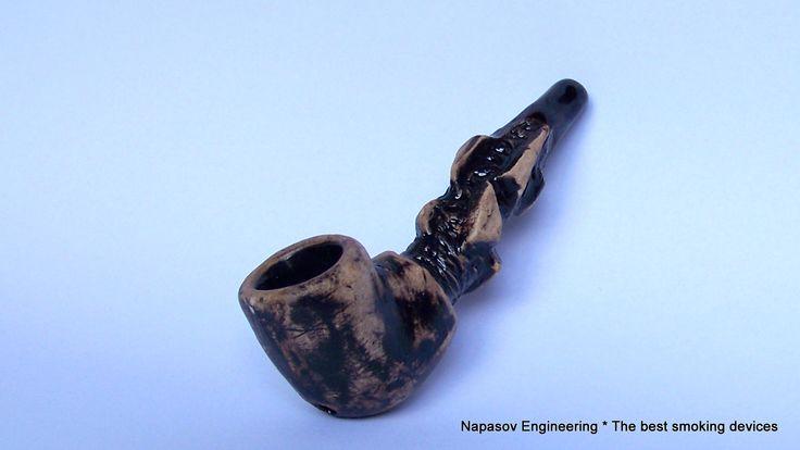 Курительная трубка из глины ручной работы. 10 см.