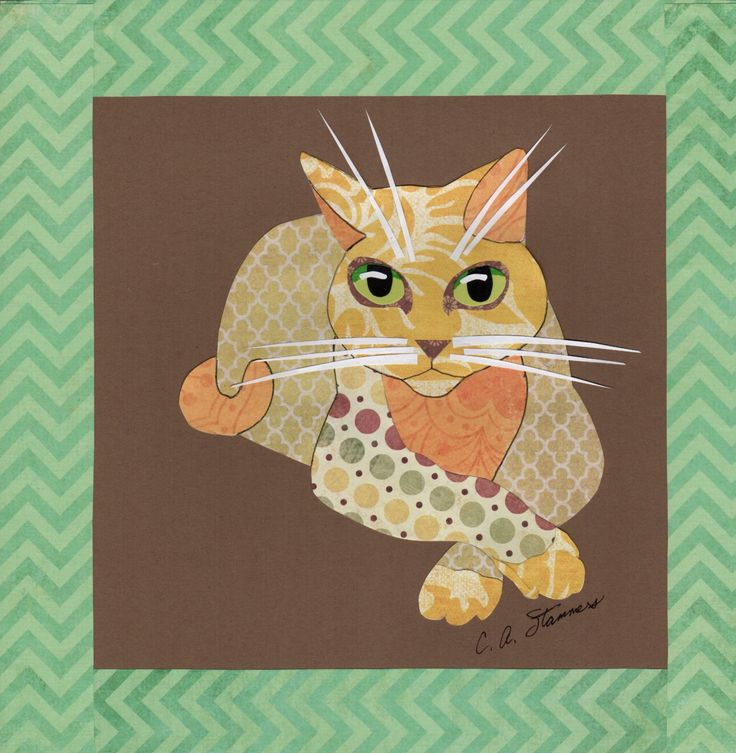 cat // calico // tortoiseshell // tabby // marmalade // art // handmade // handcrafted // papercutting // collage // colorful // cute by cindythecrazycatlady on Etsy