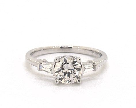 80ct Round Amp Baguette Side Stone Engagement Ring In 4mm