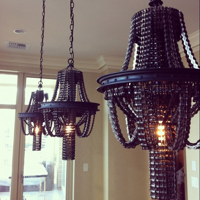 Chandeliers Made from Salvaged Bicycle Parts by Carolina Fontoura Alzaga