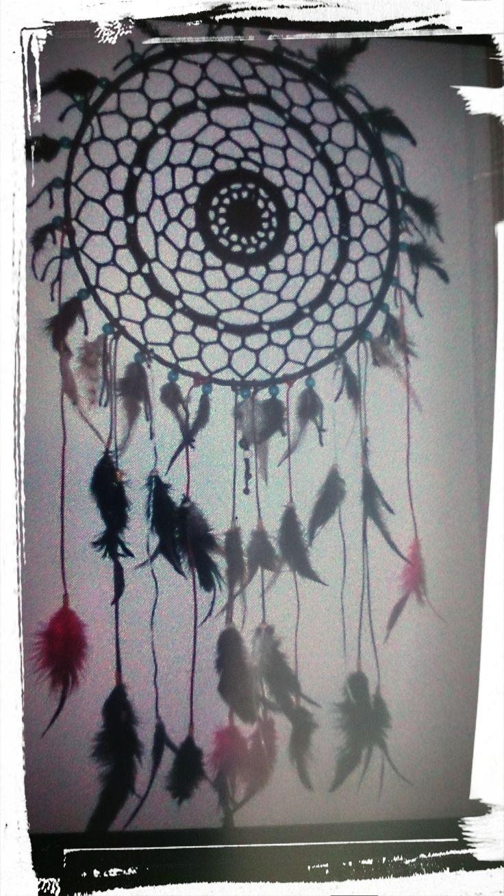 Beautifully handmade crochet, feathers and natural beads dreamcatcher #Mandala #wall art#tree of life