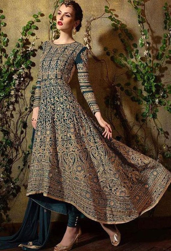 Firozi brodé Partywear Designer Salwar Kameez tailleur en Crêpe Georgette & Santoon tissu