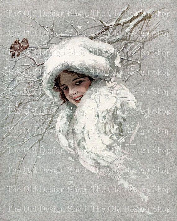 SNOWBIRDS SNOW QUEEN Harrison Fisher Vintage by TheOldDesignShop