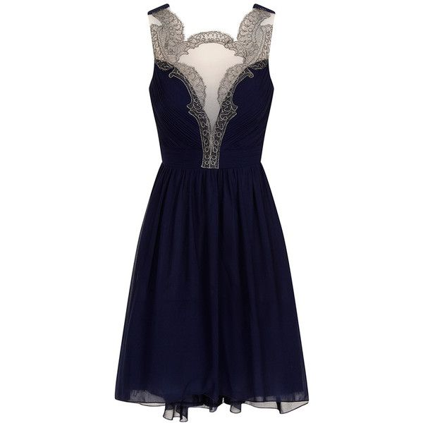 Baroque Front Prom Dress ($83) ❤ liked on Polyvore featuring dresses, short dresses, vestidos, navy blue, mini prom dresses, navy blue dress, navy prom dresses and navy cocktail dress